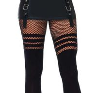 Leg Avenue Opaque Tights with Fishnet Tops
